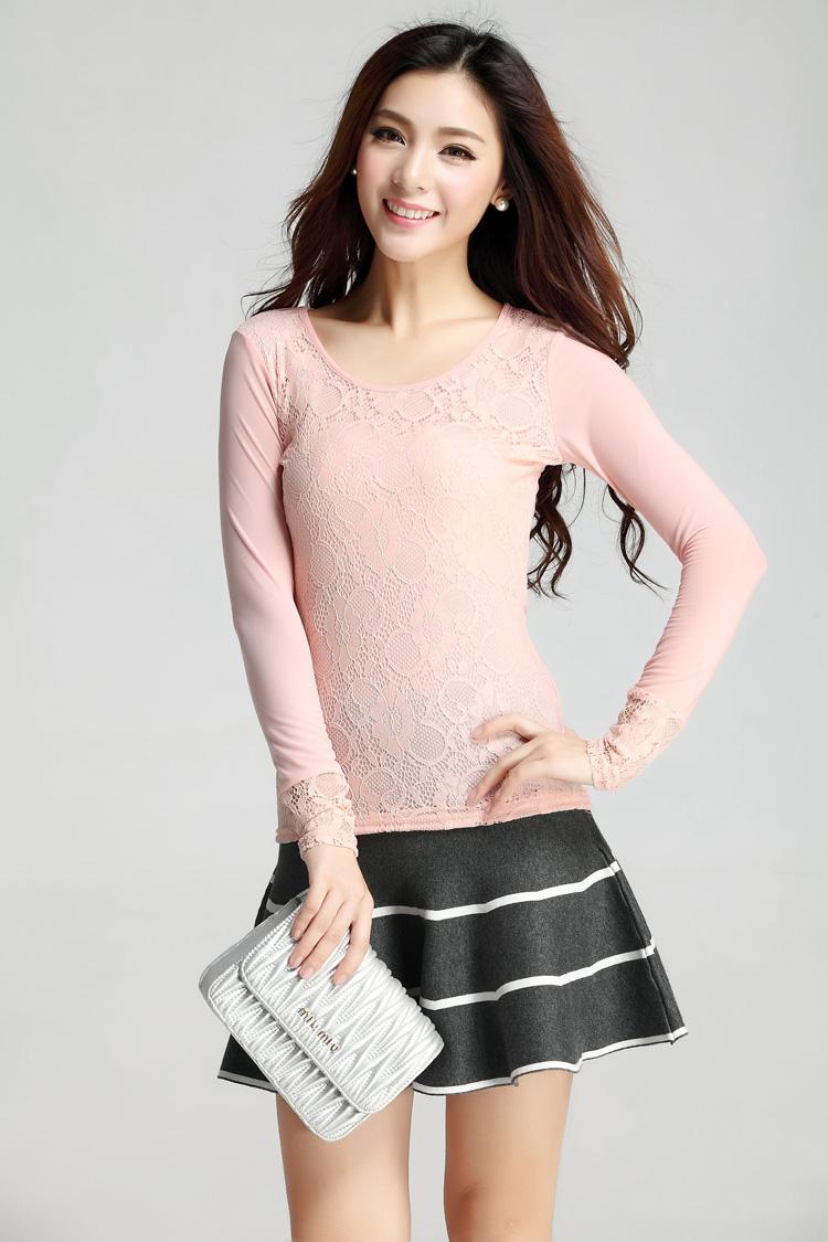 歌美瑞2014秋季女装 韩版时尚打底衫 蕾丝打底衫修身百搭打底衫穗