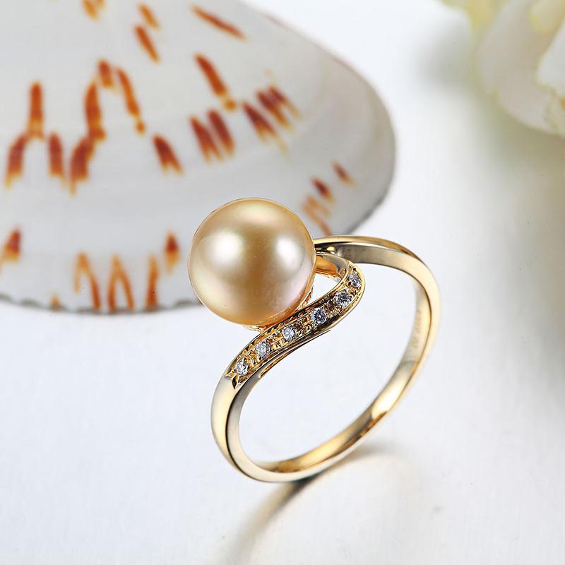 黄金南洋珍珠金珠戒指图片