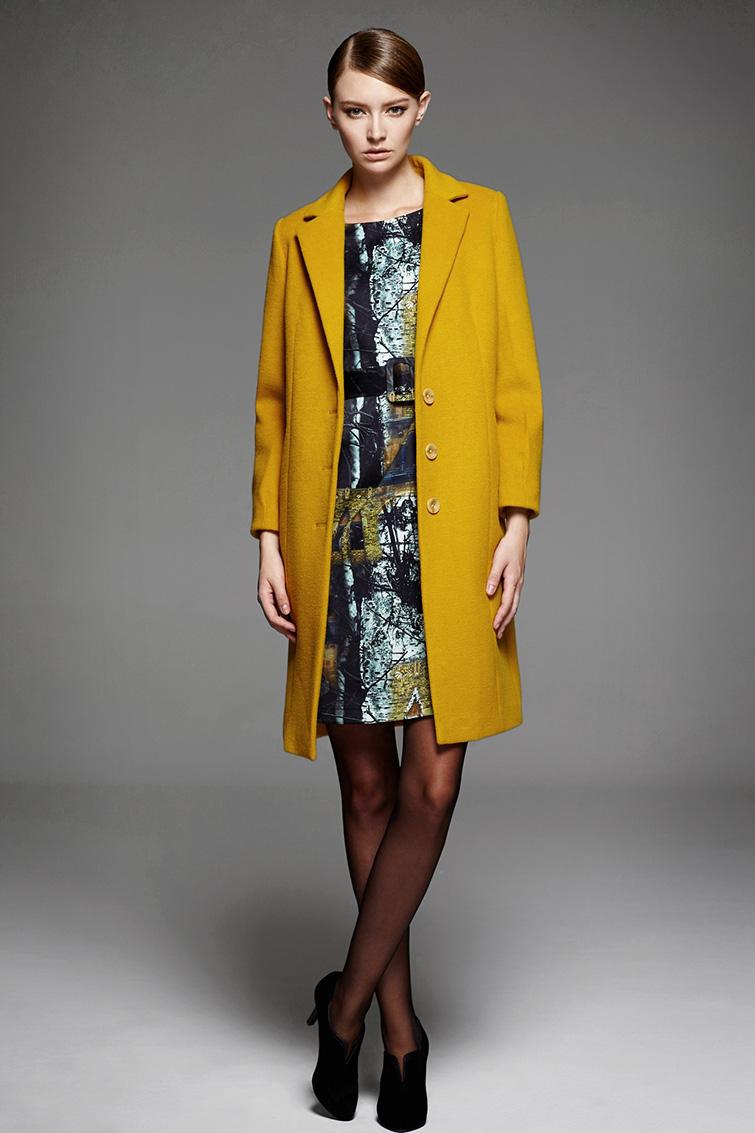 颜域2014秋冬新款女装 帅气翻领廓形羊毛大衣修身中长图片