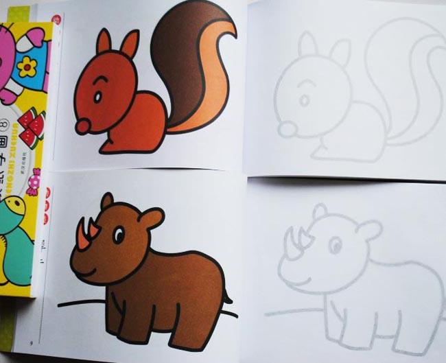 儿童简笔画书大全8册 蒙纸学画临摹涂色 画画书蒙纸画