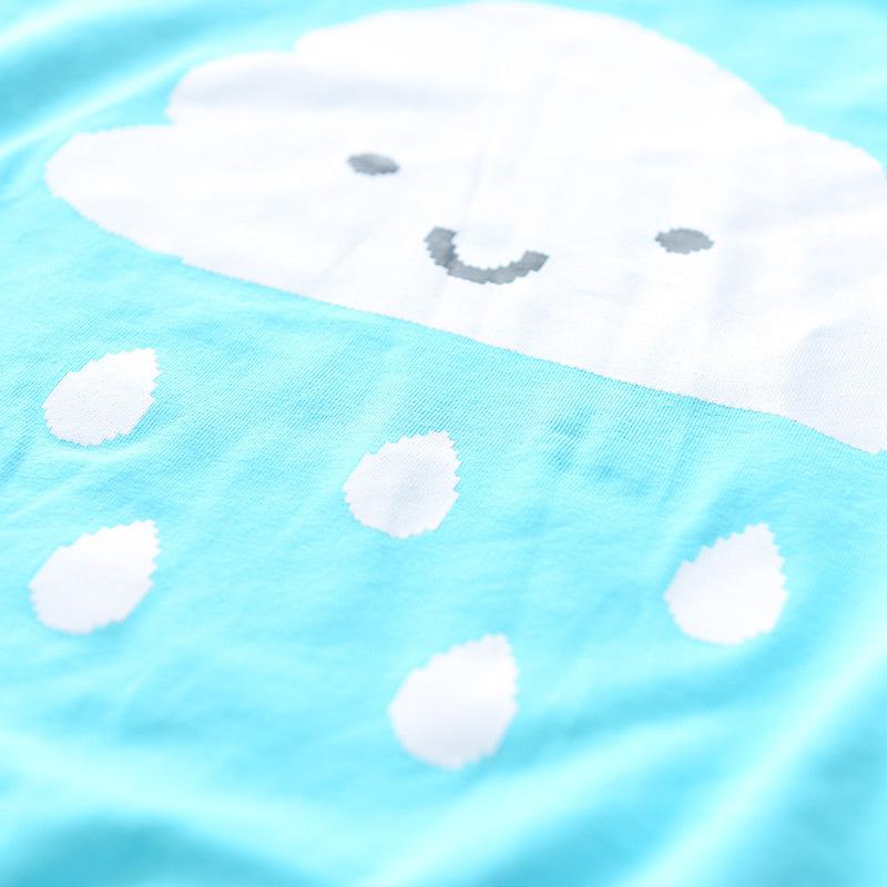 儿童t恤童装 2016新款女童云朵下雨可爱卫衣t恤 海蓝色 130-140cm/衣