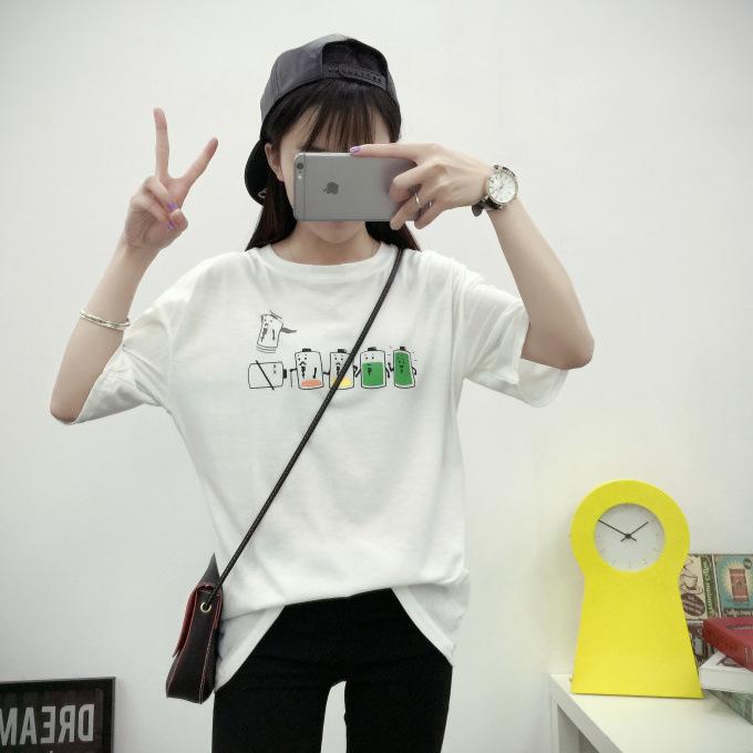 菲思蜜2016夏季韩版原宿风搞怪电池印花t恤闺蜜班服情侣短袖t 白色