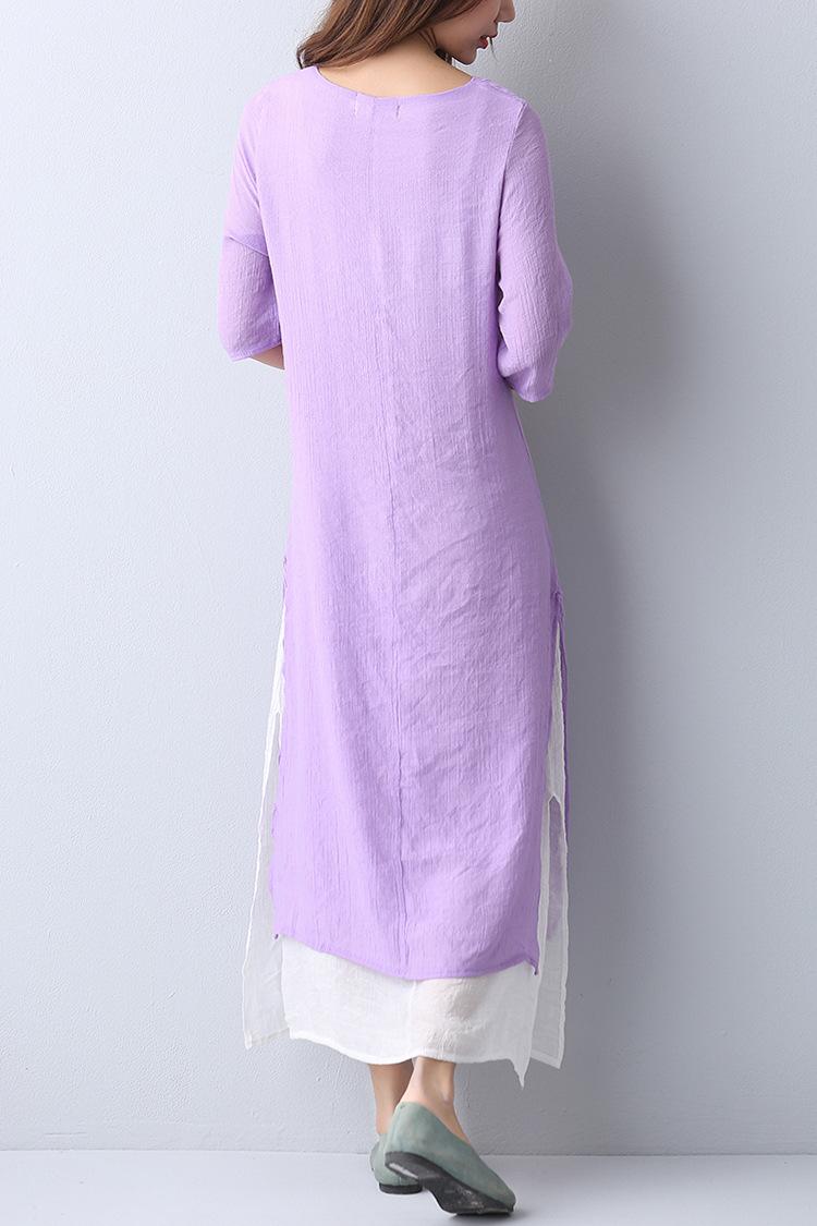 古风修身手绘连衣裙