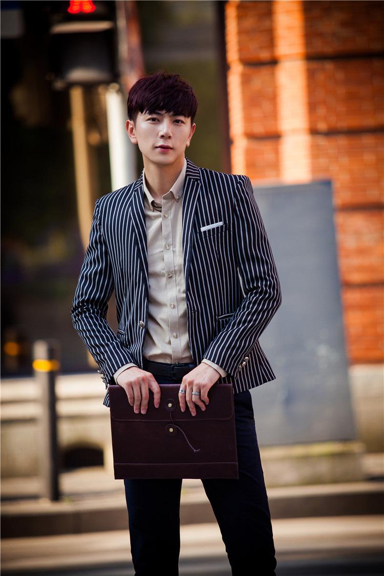 丹杰仕2016新款时尚时尚竖条纹西装男士韩版修身西服外套男 红色 52