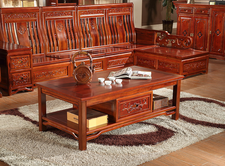 熠辉家居 中式明清古典实木香樟木 仿古沙发组合 茶几