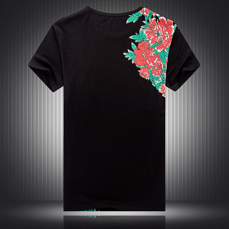 九月男装* 中国风夏季潮男新款花式短袖t恤 孔雀图案印花半袖体恤图片
