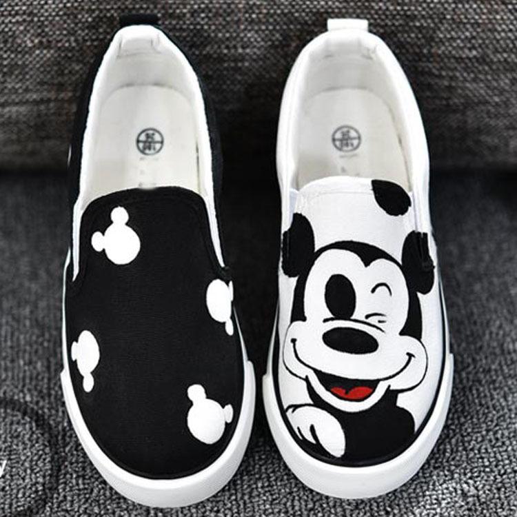2016年新款儿童手绘鞋大中小儿童帆布鞋手绘米奇套脚鞋 白色 35-44码