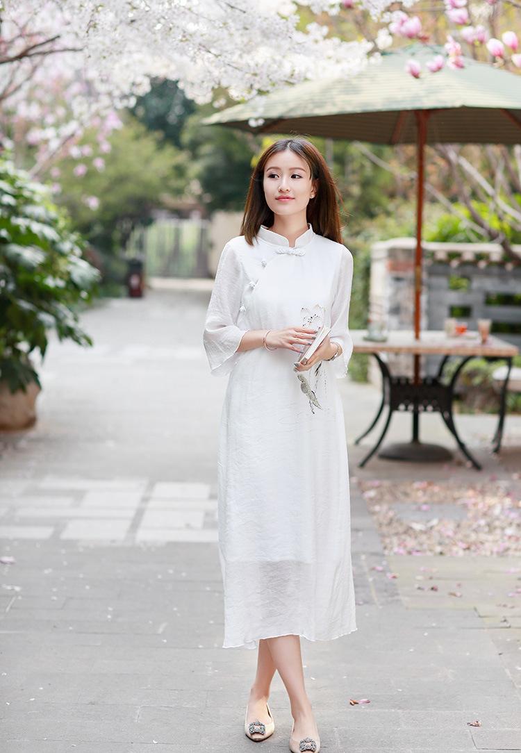 野狼温柔复古女装连衣裙手绘长袖长裙中国风文艺范唐装旗袍 预售 米色