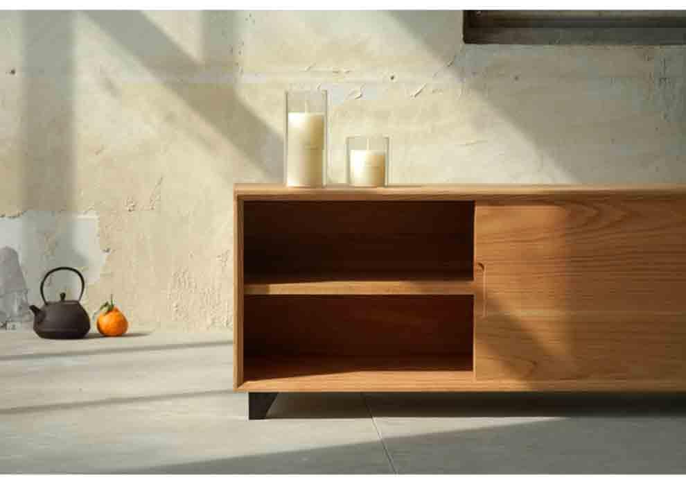 黑胡桃橡木电视柜实木原木家具北欧 无印良品日式