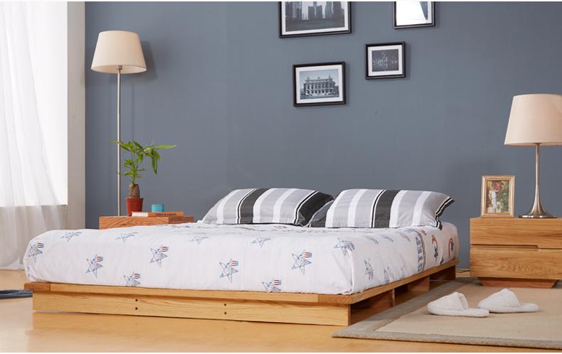 实木床榻榻米床橡木床 日式实木床 单人床1.5 米双人床1.