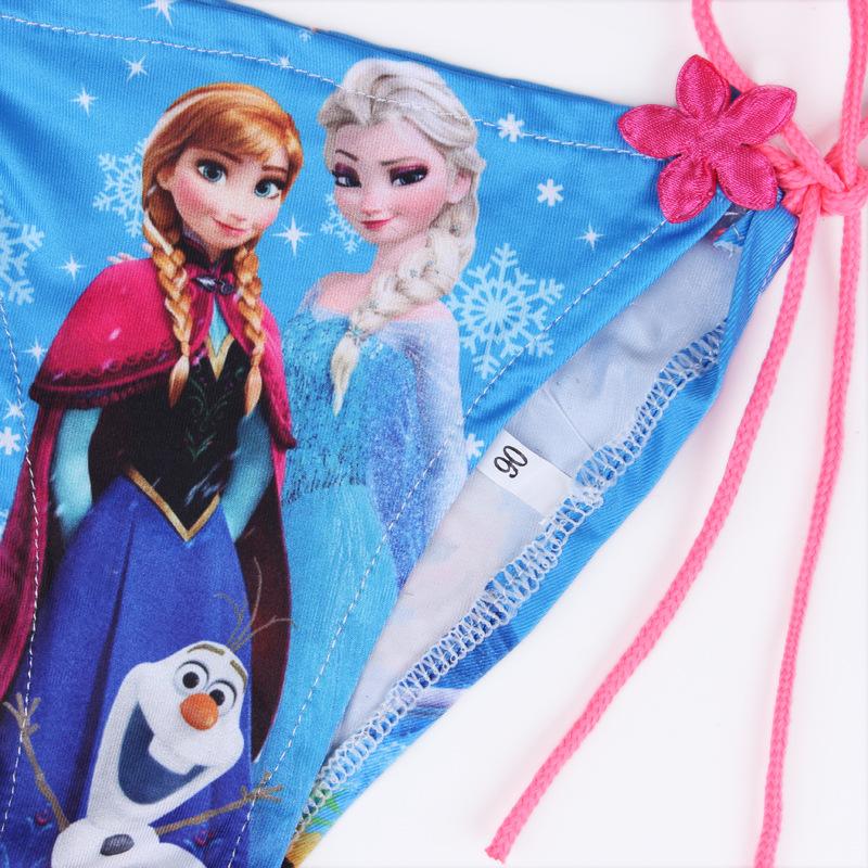 2015新款女童冰雪奇缘艾莎公主比基尼绑带+三角裤两件