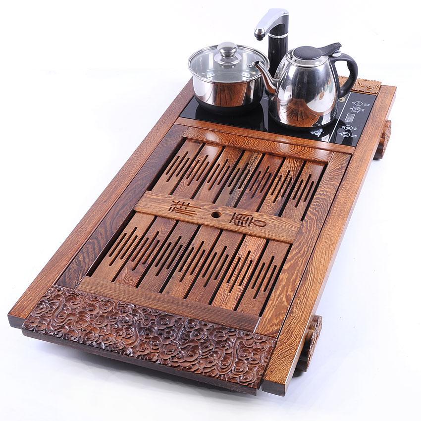 木制鸡翅木大祥云嵌入式茶具茶盘套装实木茶盘茶海托盘