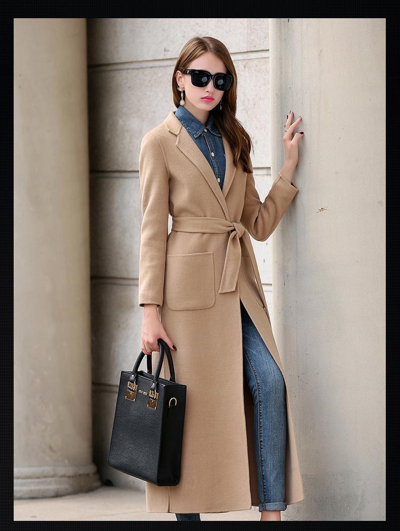 羊绒呢大衣外套女_歌兰寇2015秋冬新款手工双面羊毛呢大衣女羊绒外套时尚修身 大红色 s
