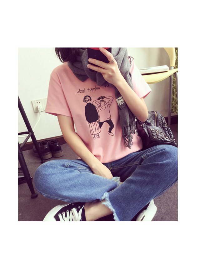 2016韩国女装韩版夏季卡通印花宽松短袖t恤女学生闺蜜图片