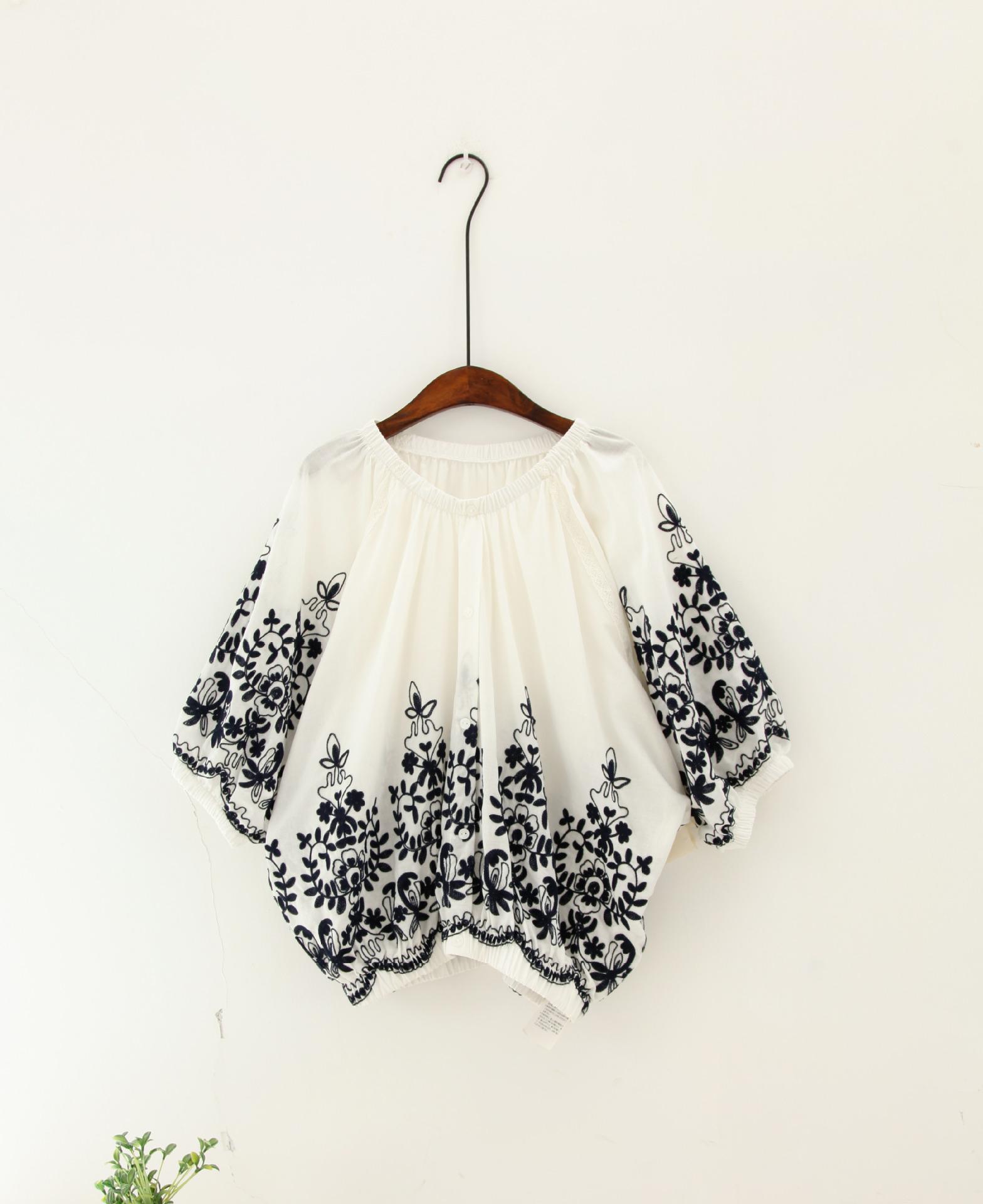 凡士利女装*日系和风蔷薇花刺绣灯笼棉衬衣 蝙蝠衫3023新锐 白色 均码