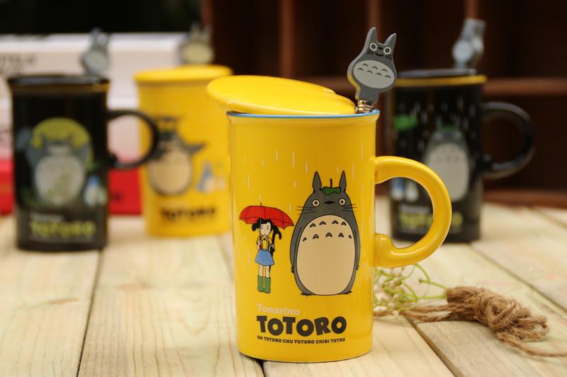 彩色龙猫马克杯 卡通陶瓷牛奶杯 儿童水杯带盖杯子/卡通杯子 301-400