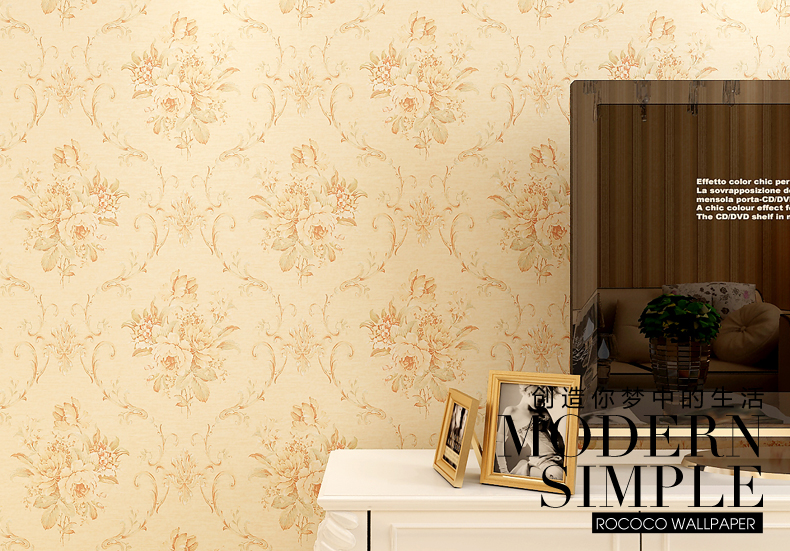 壁纸 美式田园风环保透气 客厅卧室电视背景墙墙纸 504-偏金色花型图片