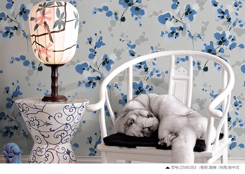 米素新中式壁纸 卧室书房无纺布墙纸 客厅电视背景墙壁纸 题画 zs8图片
