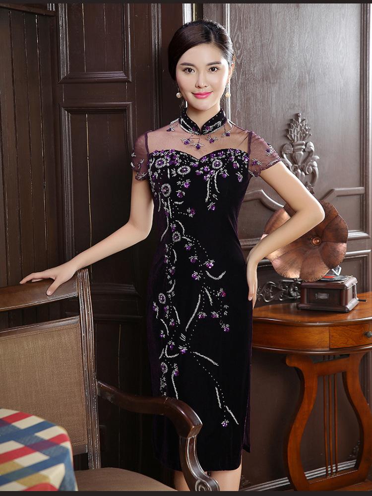 2016新款钉珠金丝绒旗袍复古时尚大码中长连衣裙fz289 紫色 xl