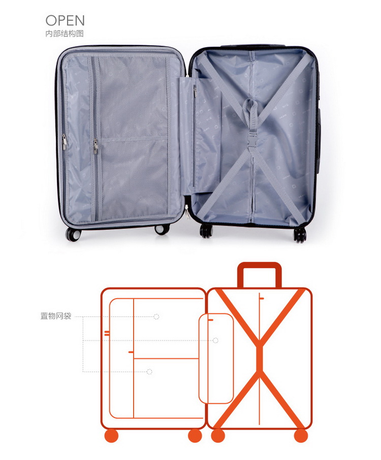 张小盒qq皮肤_张小盒 拉杆箱 男女通用个性印花旅行箱美洲小盒 20寸