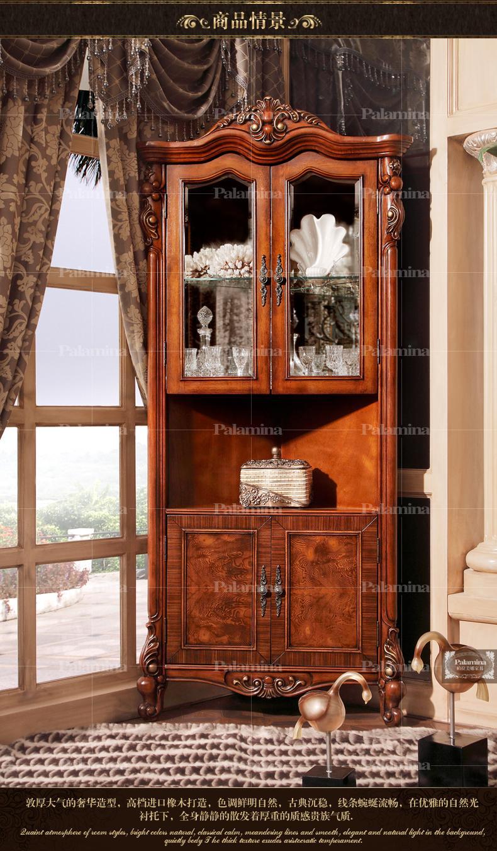 实木美式酒柜 餐厅欧式家具展示柜 柜子欧式双面门厅柜 三角酒柜 4门