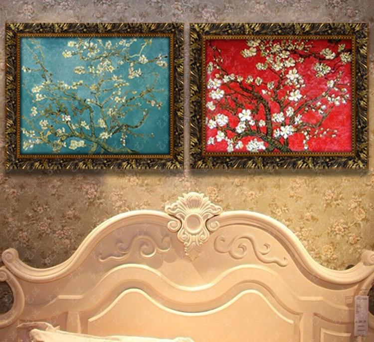 名画手绘油画抽象梵高手工欧式客厅装饰壁炉玄关餐厅挂画定制三联 画
