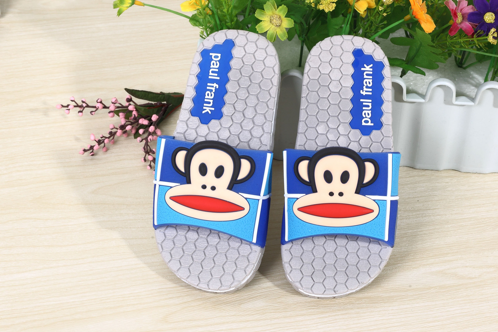 韩版可爱卡通防滑家居家室内男女外贸新款浴室加厚阿华哥拖鞋n 浅灰