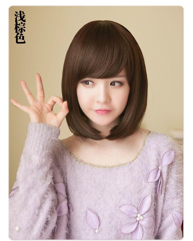 黛娜儿假发 假发女短发 女生韩国发型波波bobo梨花头斜刘海蓬松逼真黑