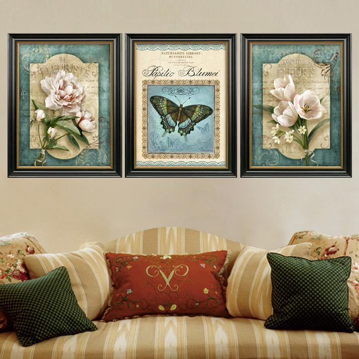聚美优画原版装饰画欧式美式餐厅单幅挂画进口竖式三联画植物花卉图片