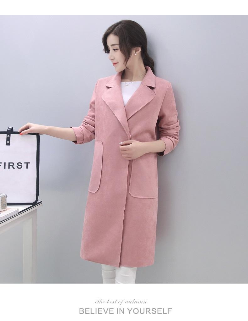 吉禾伊嘉春款2016新款韩版女装中长款风衣休闲时尚宽松大码百搭外套