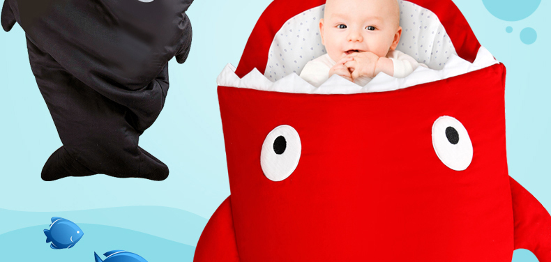 南极人婴儿睡袋宝宝防踢被儿童推车睡袋可爱鲨鱼造型睡袋 红色 均码52