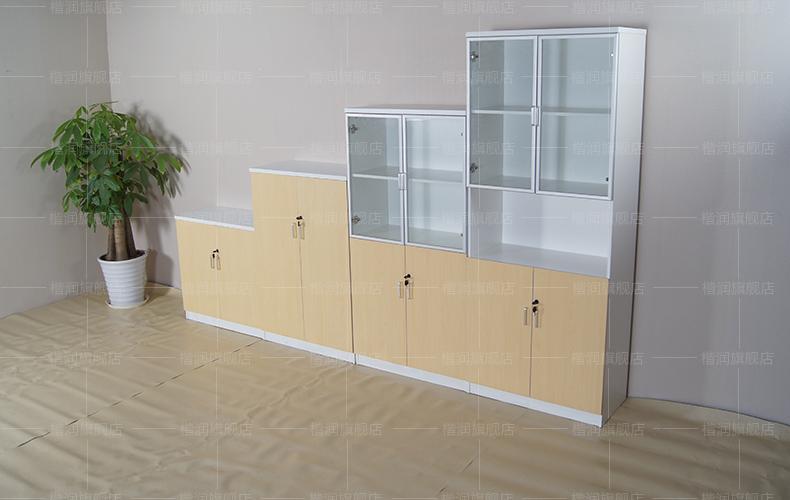 楷润办公家具 板式文件柜落地资料柜 玻璃门办公柜子 过道隔断柜简约图片
