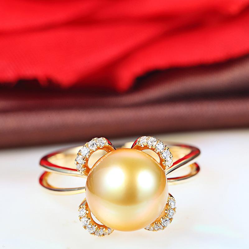 南洋珍珠女戒 金珠戒指图片