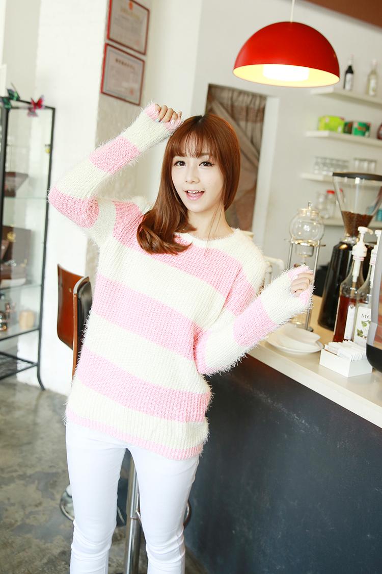 秋装学院甜美可爱少女系列韩系条纹秋款套头毛衣0066