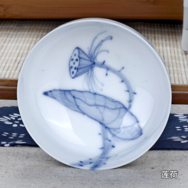 驰泰 景德镇 手绘精品 青花瓷口杯 功夫茶杯 品杯 薄胎陶瓷杯 80ml