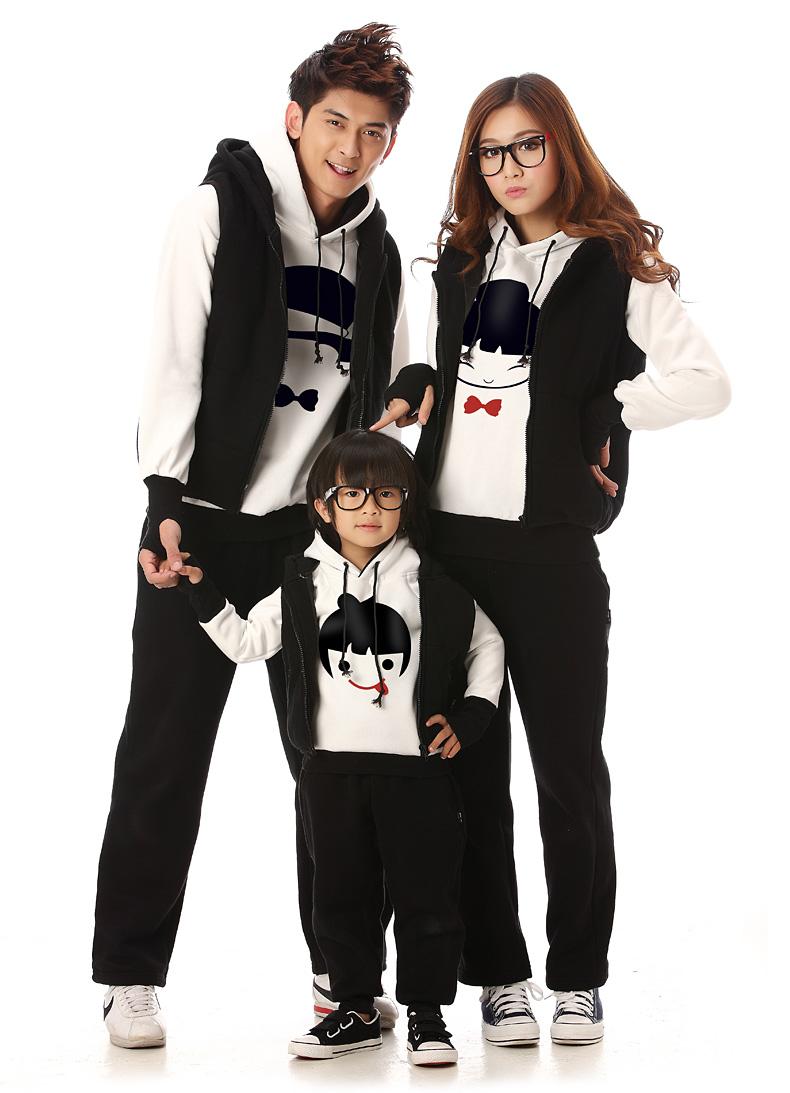 亲子装冬装2014款卫衣卡通头像一家三口秋冬母女母子秋装运动春装三件