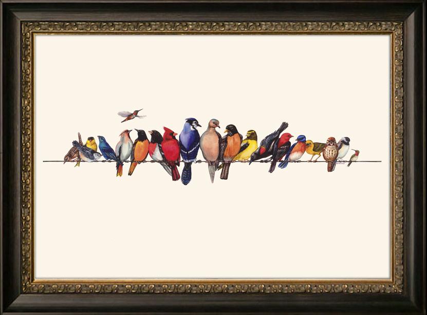 聚美优画卧室装饰画 床头百年好合鸳鸯鸟美式壁画进口图片