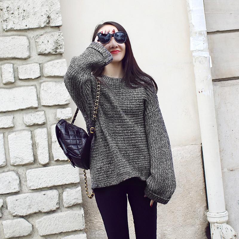 2015秋冬新款 套头圆领宽松卷袖欧美针织衫女蝙蝠袖毛衣女 图色 均码