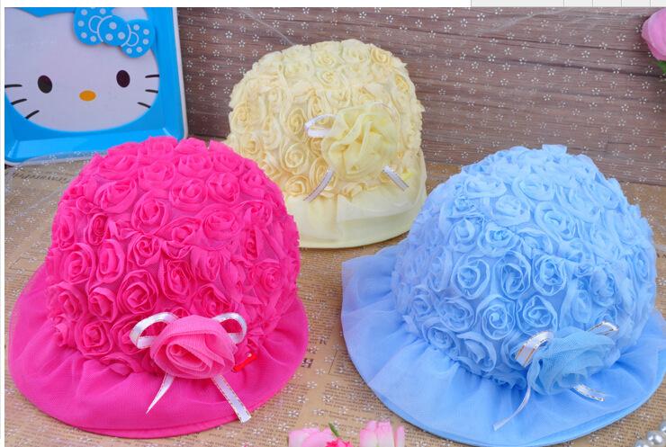 韩款儿童春季帽子丝带玫瑰花布纱质童帽婴儿帽子儿童盆帽ty 粉色