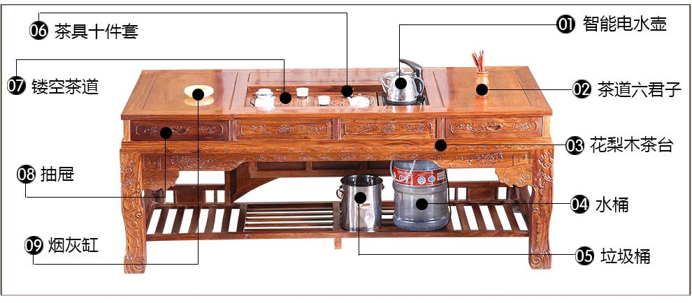 总经理 花梨木茶桌 红木茶台 仿古典茶台 红木茶几(1桌1主人椅4文福椅图片