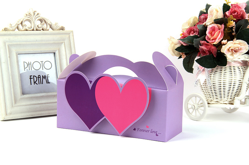靓霜凝 白卡复膜 喜糖盒 双心立体手提礼品盒 婚庆礼物盒欧式通用紫色