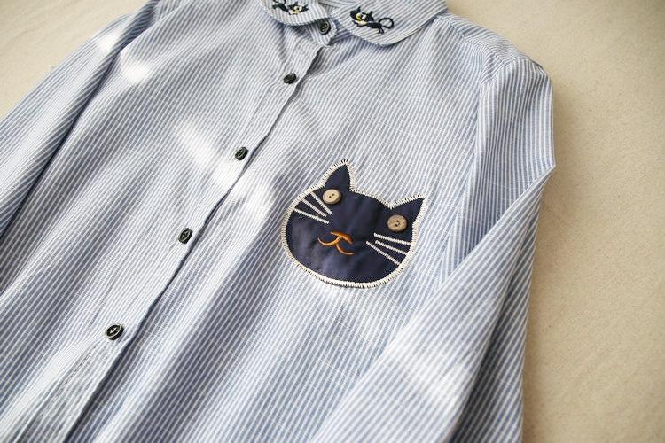 2016清新可爱刺绣猫咪头竖条纹长袖打底衬衫上衣 黑色