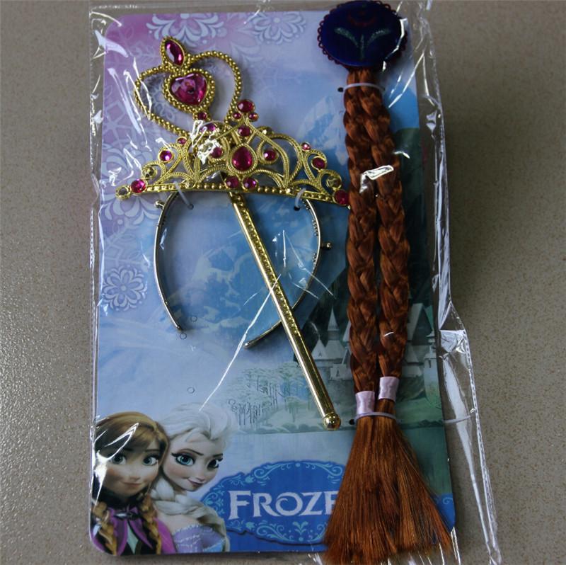 冰雪奇缘皇冠三件套 冰雪公主皇冠魔法棒假发辫子fz