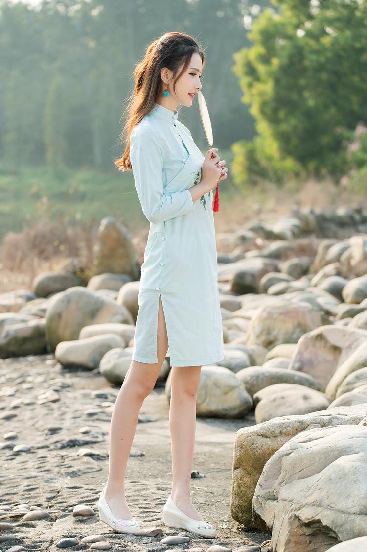新款中国风手绘改良旗袍修身仙女裙连衣裙女