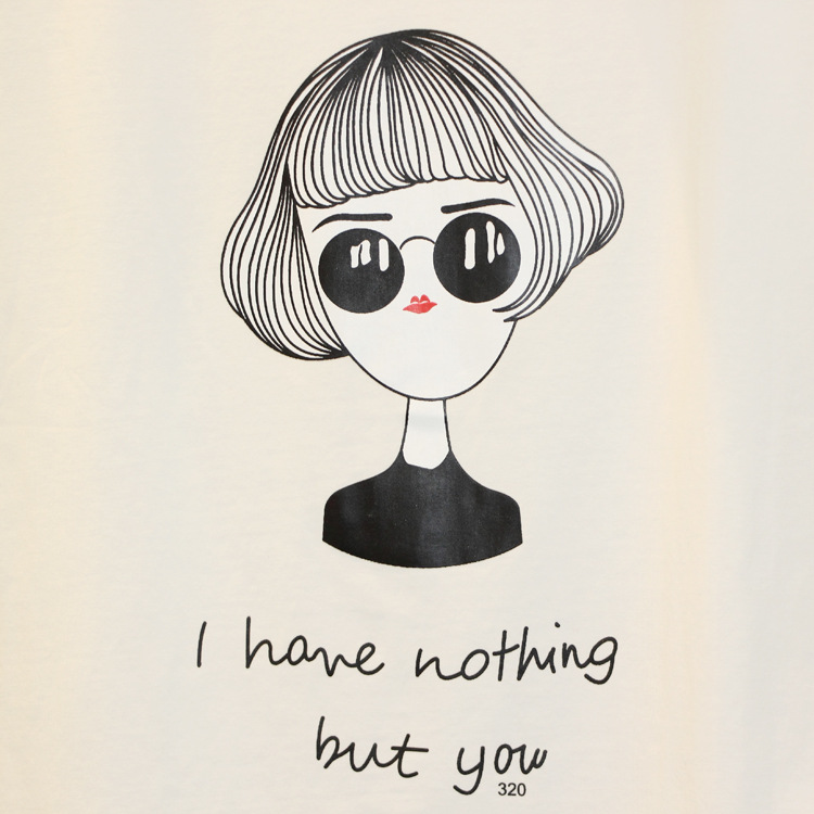伊塔丽新款可爱卡通美女学生印花宽松上衣韩版短袖t恤女夏253 灰色