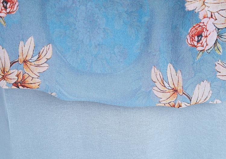 qinqing桑蚕丝手绘上衣 中老年女装夏装 妈妈装长袖衬衫 真丝半袖bq