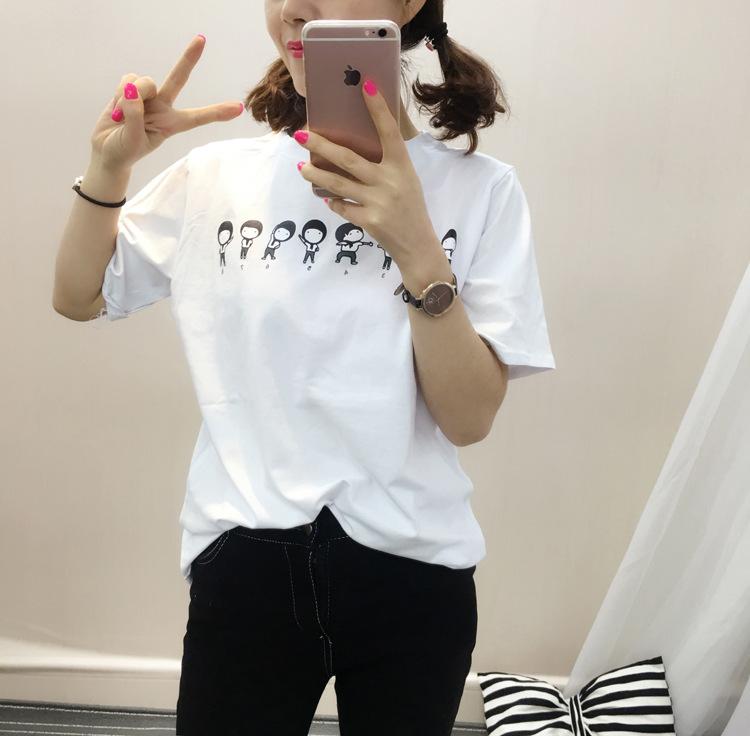 情人瑜伽2016新款小人图案宽松休闲百搭短袖t恤 女 白色 均码