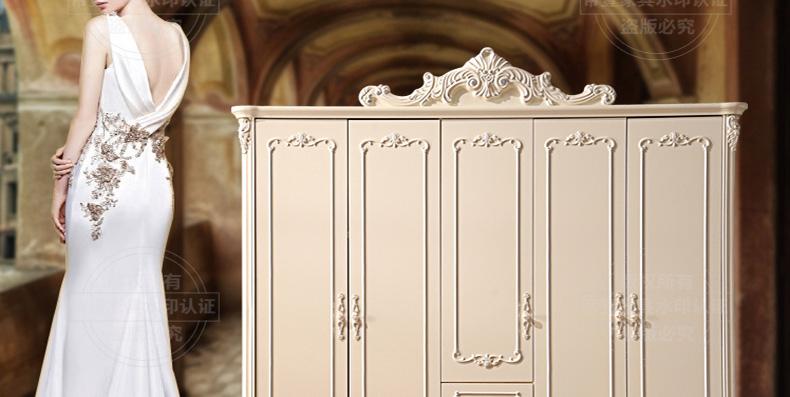 木籣香欧式雕花五门衣柜平开门实木衣柜白色衣帽间衣橱组合衣柜家具小