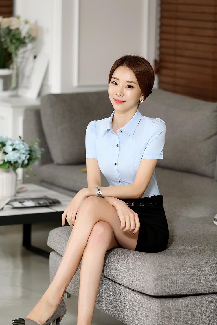 宝芮雅莉韩版2016春季新款短袖 职业女衬衫 气质白领丽人工作制服