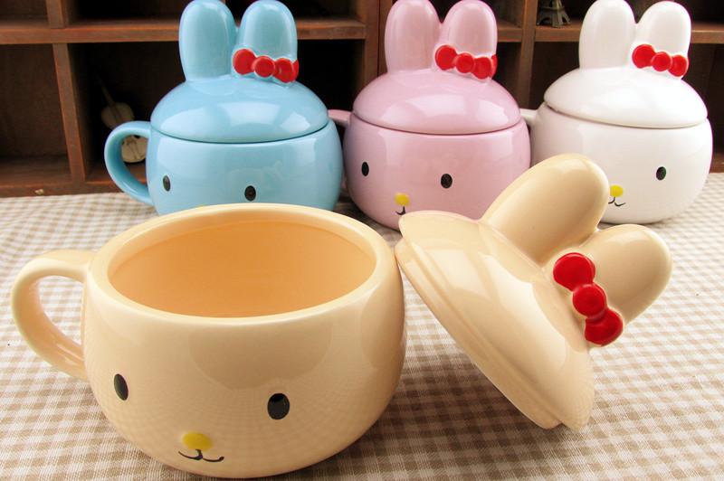 妮可兔彩绘杯子 创意萌物兔子杯 小白兔立体头像水杯 动物陶瓷杯 301